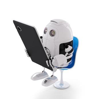 Robotter studiert Plan